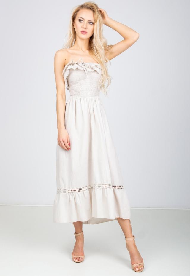 9ec0d71beabc Dámské šaty s nařaseným výstřihem - univerzální - Pudrově růžová