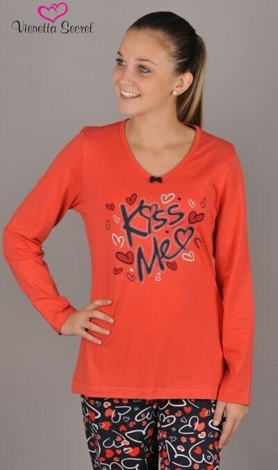 Dámské pyžamo dlouhé Kiss Me - korálová XL