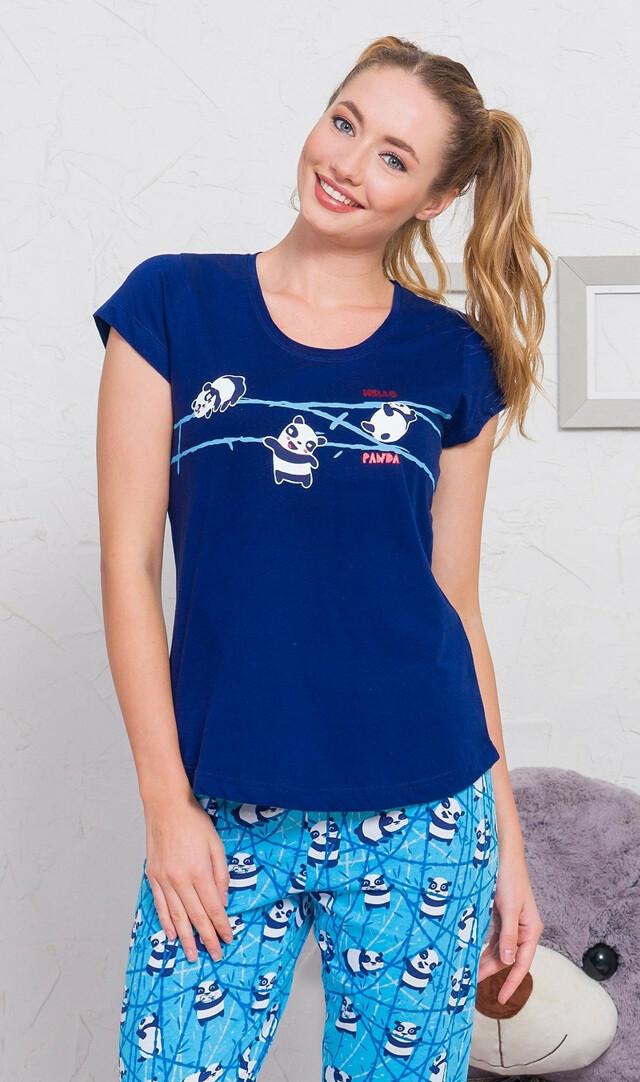 Dámské pyžamo kapri Malá panda - světle šedá XL