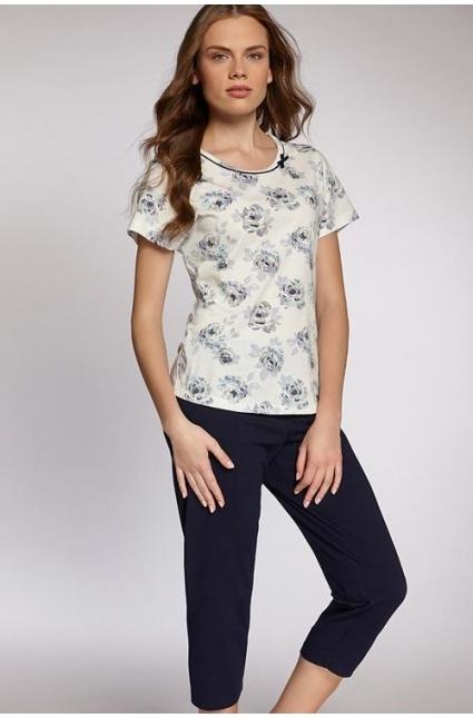 Dámské pyžamo 305 - Cana - XXL - bílá s květinovým vzorem/ tmavě modrá