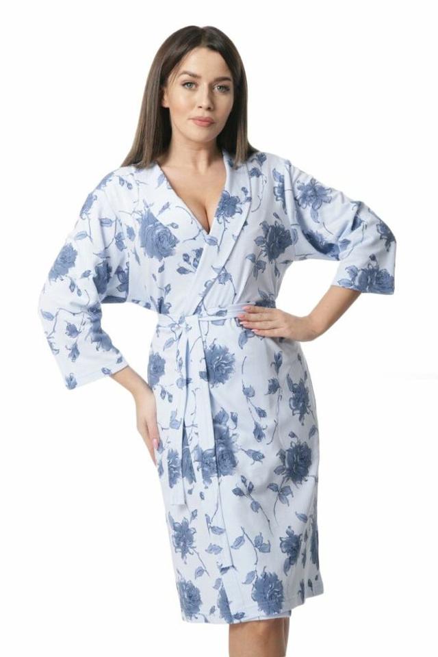 Dámský bavlněný župan Sunny modré květiny - XL - modrá