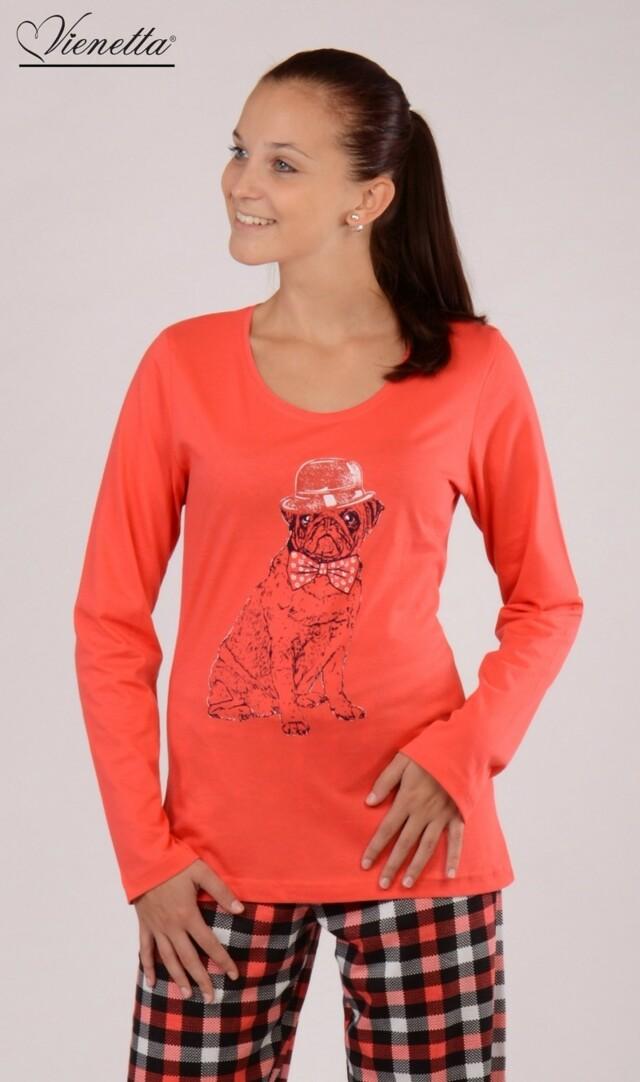 Dámské pyžamo dlouhé Bulldog - korálová L