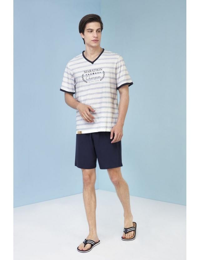 Pánské pyžamo Nestor 3213 - Vamp - XL - modro-bílá