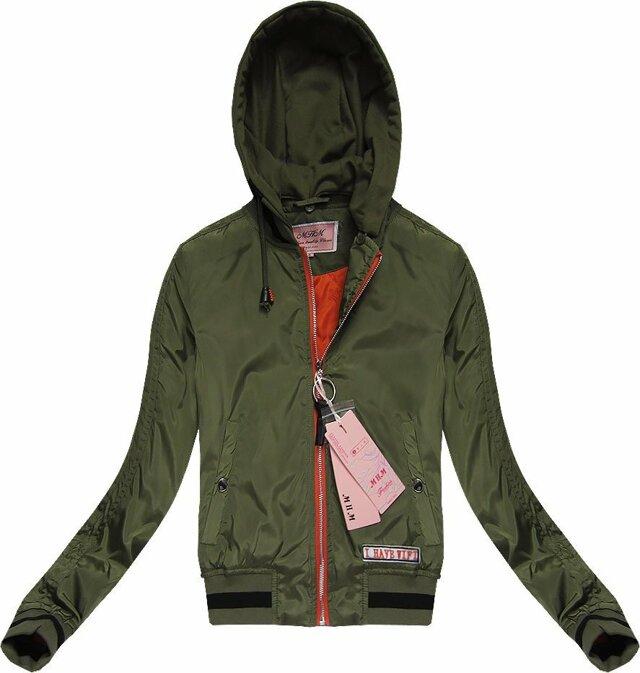 Bunda typu bomber v khaki barvě s kapucí (W05) - S (36) - khaki