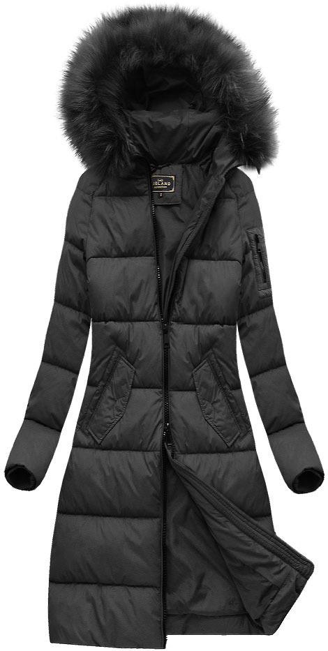 Černá dámská dlouhá bunda s kapucí (7751) - S (36) - černá