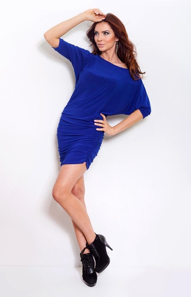 Modrofialové šaty s nabíráním na bocích 16-1