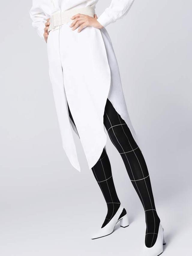 Dámské punčochové kalhoty Fiore Palazzo G 5905 40 den - 4-L - black-white/černá-bílá
