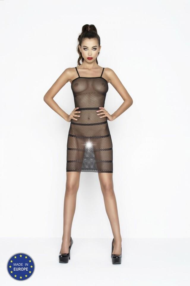 Erotické šaty BS033 black - Univerzální - černá