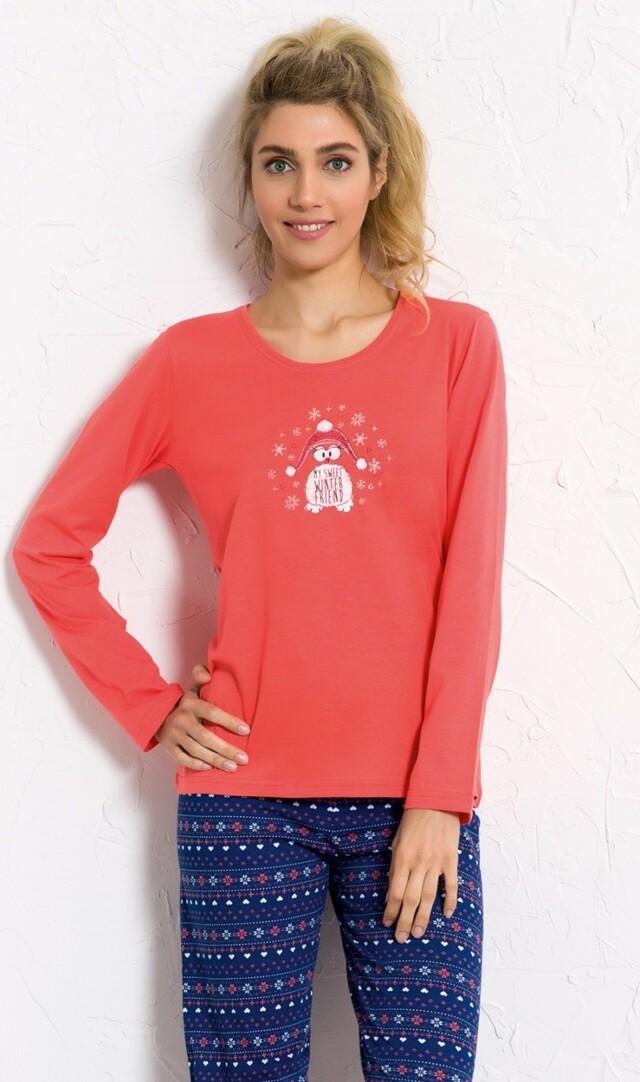 Dámské pyžamo dlouhé Sweet friend - korálová S
