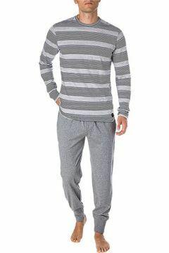 Pánské pyžamo 580006 - Jockey - 2XL - šedá s proužkem