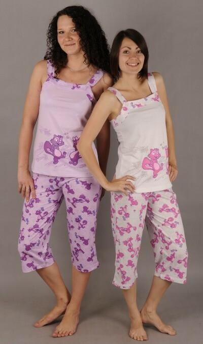 Dámské pyžamo kapri na ramínka Veverka a oříšek
