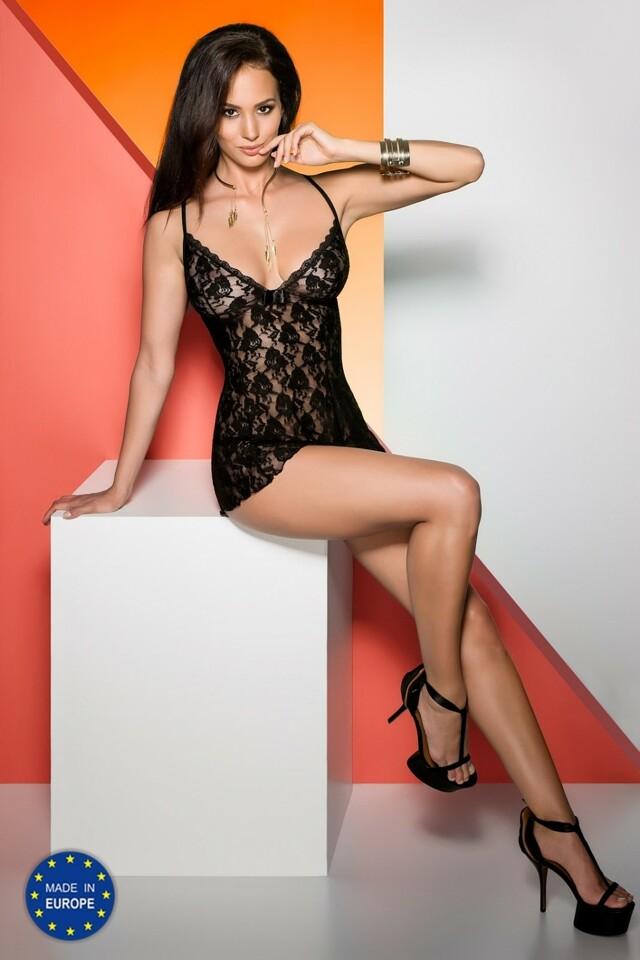 Erotická košilka Daiva chemise black - L/XL - černá