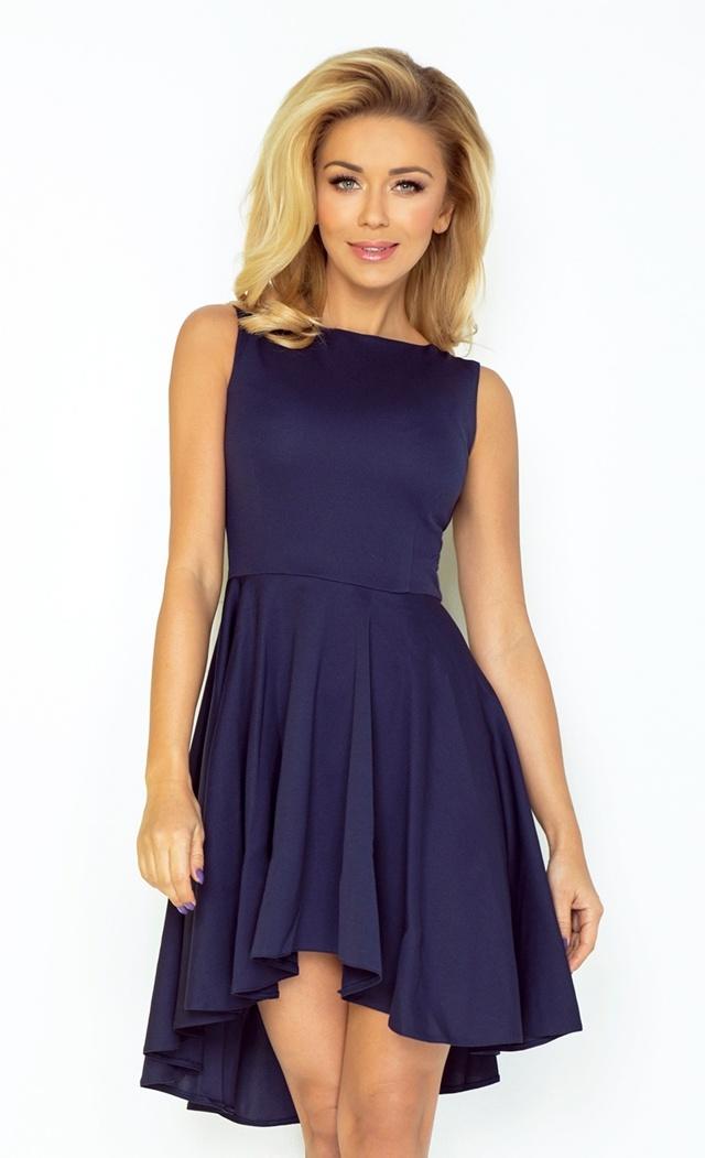 Tmavě modré šaty s delší zadní stranou 33-3 - S