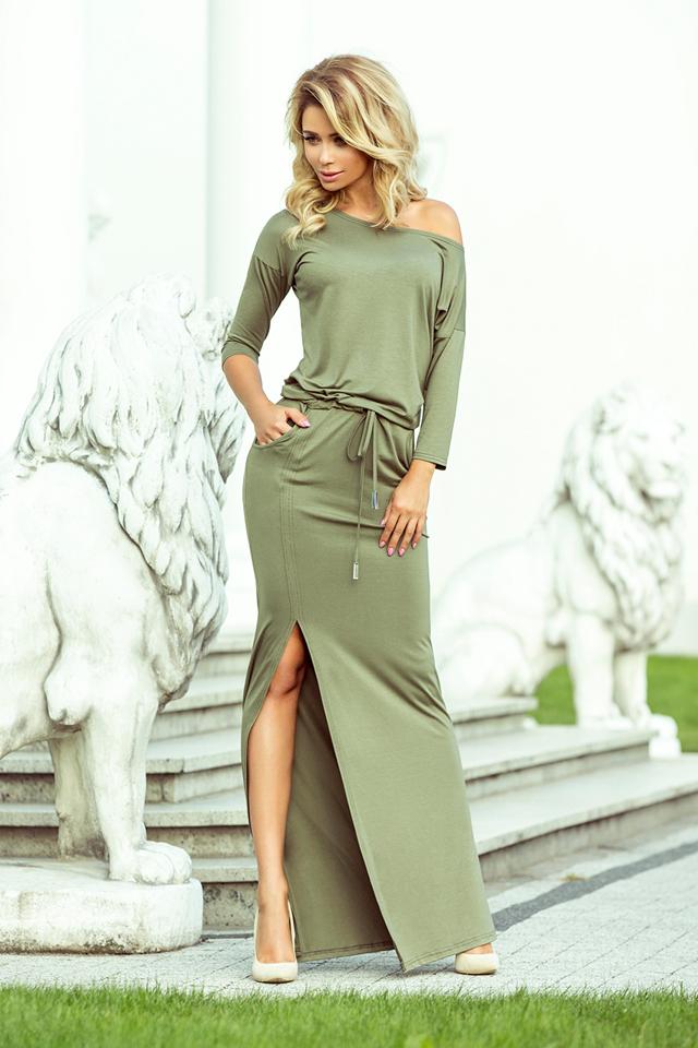 Dámské sportovní maxi šaty v olivové barvě s rozparkem 220-1 - L