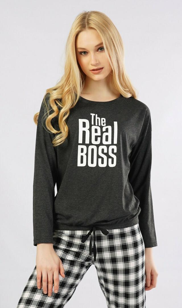 Dámské pyžamo dlouhé Real boss - tmavě šedá S