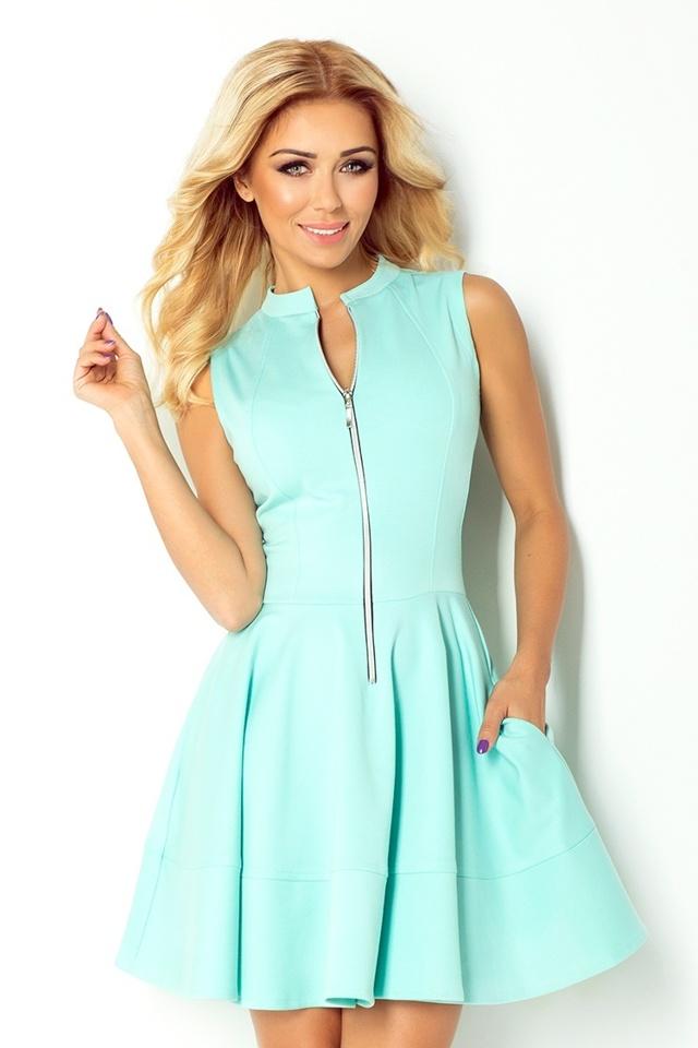 Mátově zelené šaty se zipem a kapsami 123-7 - S