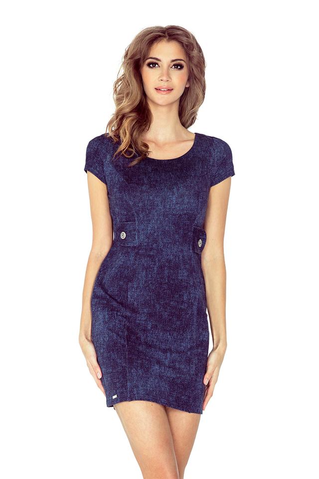 Džínově modré šaty se dvěma knoflíky MM 010-2 - S