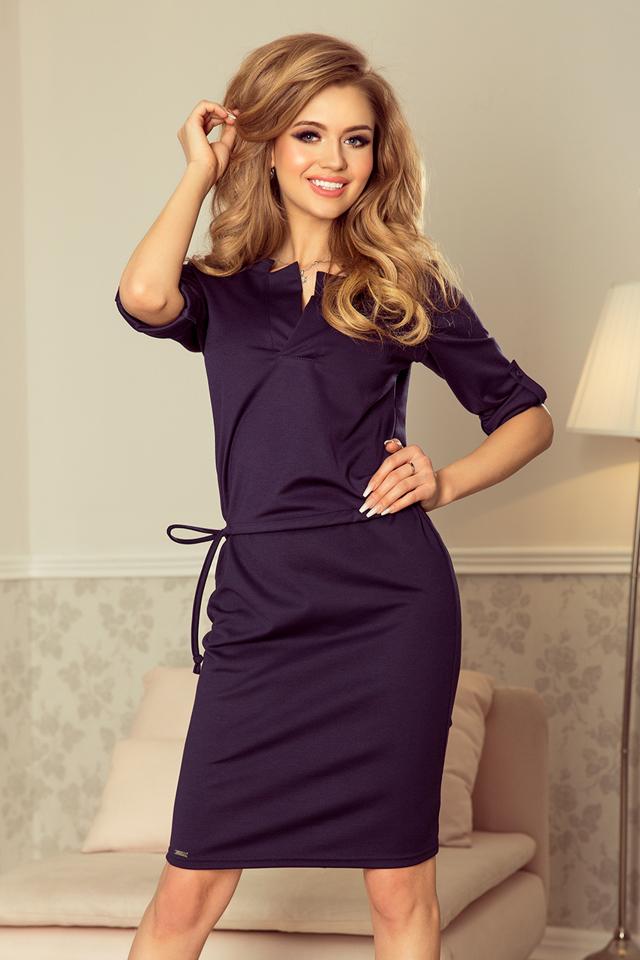 c4fd1cd601d5 Tmavě modré dámské šaty s límečkem 161-7 AGATA - S