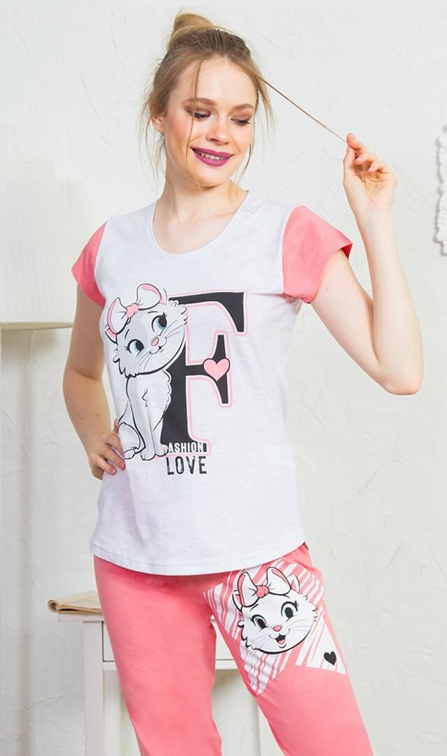 Dámské pyžamo kapri Fashion - světle šedá XL