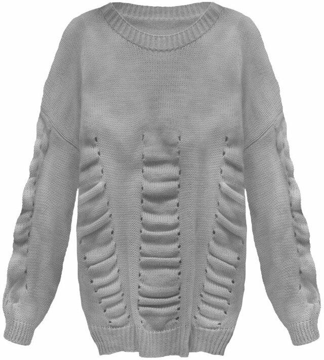 Tmavě šedý dámský svetr s nabíráním (182ART) - ONE SIZE - šedá