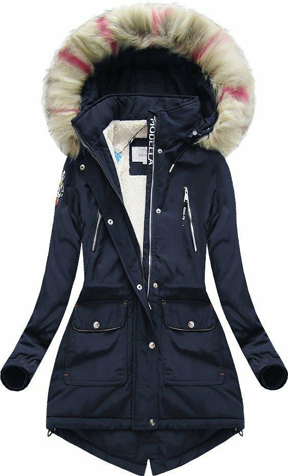 Tmavě modrá dámská zimní bunda s kapucí (39910) - XXL (44) - tmavěmodrá