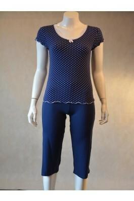 Dámské pyžamo 1032 KK Cocoon Secret - XXXL - tmavě modrá s bílou