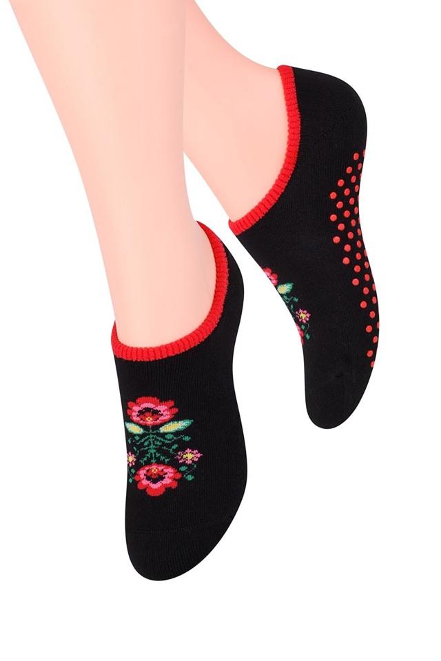 Dámské ponožky Steven 132-10 - 35-37 - černá/květy