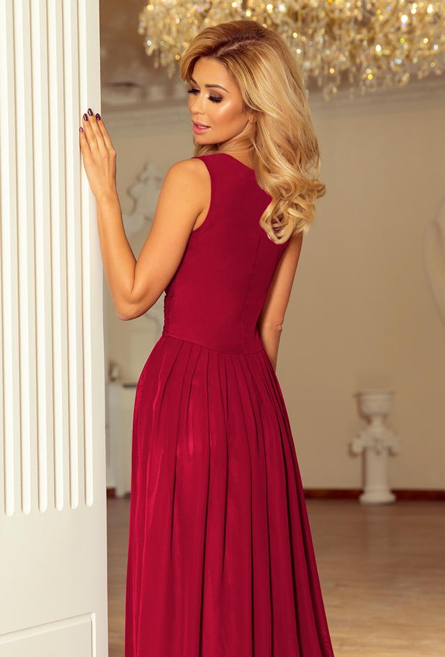 549b20a7d885 Dámské šifonové maxi šaty ve švestkové barvě s rozparkem 166-6(1058721) -