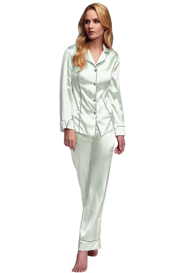 Luxusní saténové pyžamo Hayley mentolové - S
