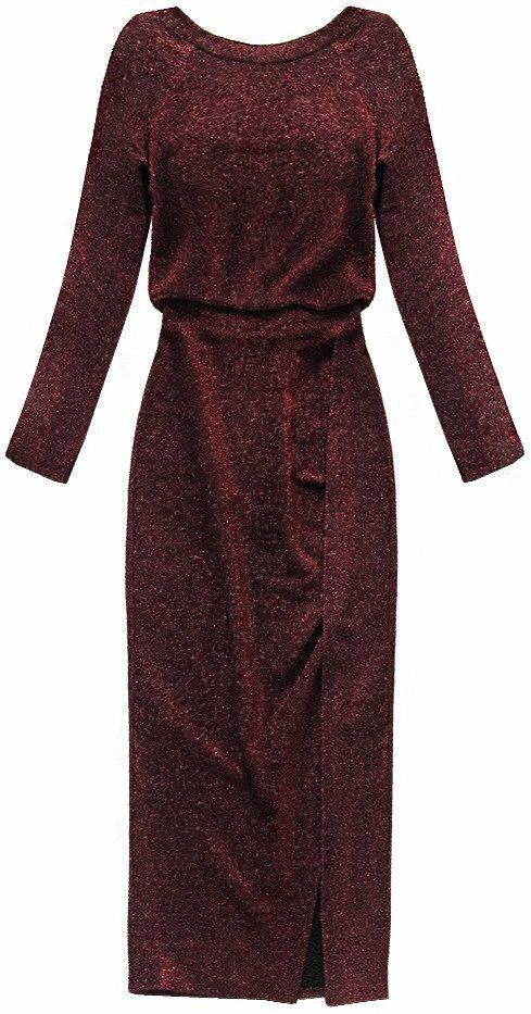 Lesklé červené dámské šaty v délce midi (166ART) - ONE SIZE - červená 04c56ad6bb