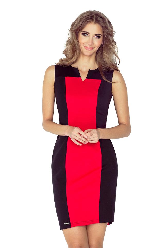 Černo-červené dvoubarevné šaty MM 006-1 - S