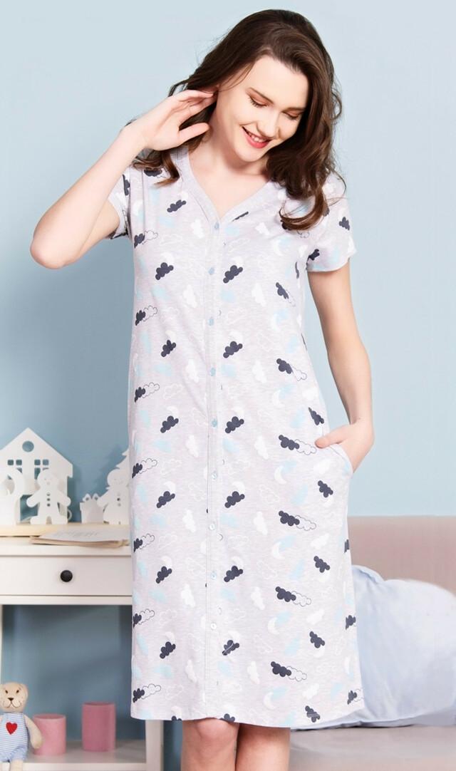 Dámské domácí šaty s krátkým rukávem Nebe - světle šedá S