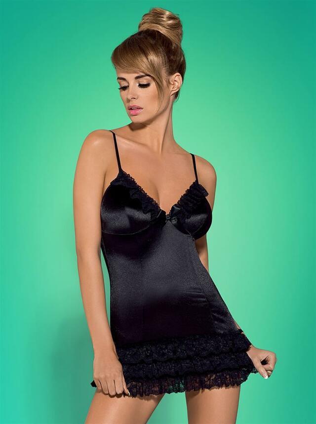 Košilka Blackbella chemise - Obsessive - L/XL - černá