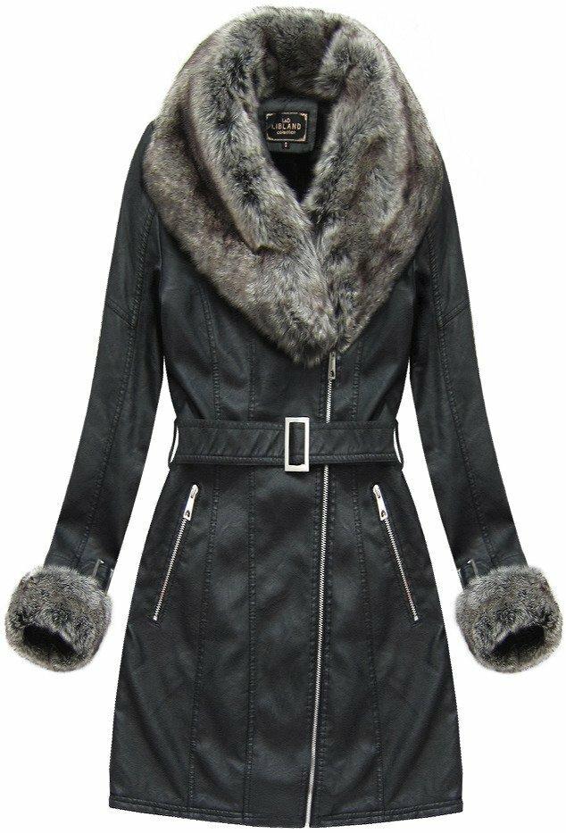 Černý dámský zimní kabát s kožíškem (5524) - S (36) - černá