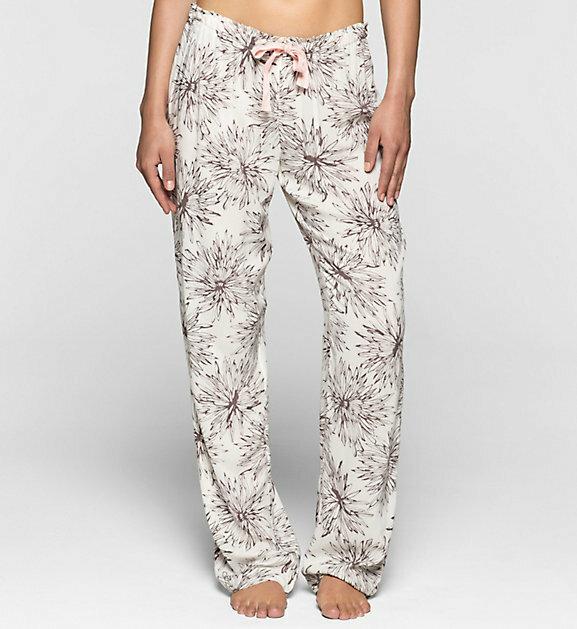 Dámské pyž. kalhoty S1614E - smetana - Calvin Klein - L - smetanová s černou