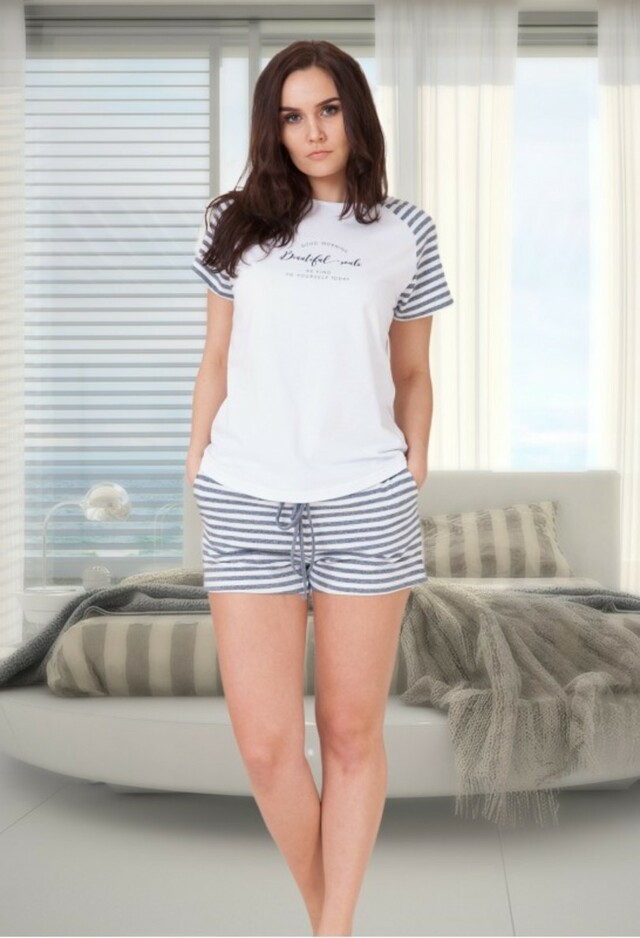 Dámské pyžamo AMANDA - M-MAX - M - RŮŽOVÁ ŽÍHANÁ