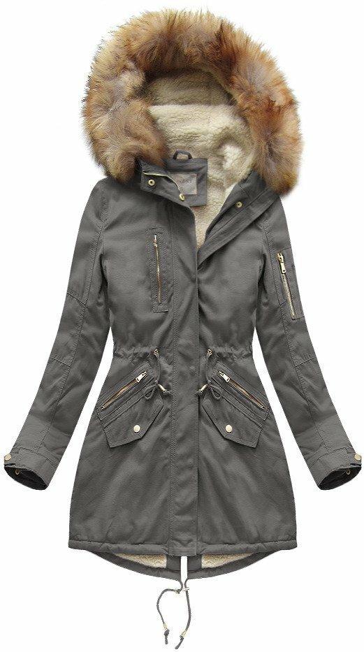 Šedá dámská zimní bunda s kožíškem (B1303) - XL (42) - šedá