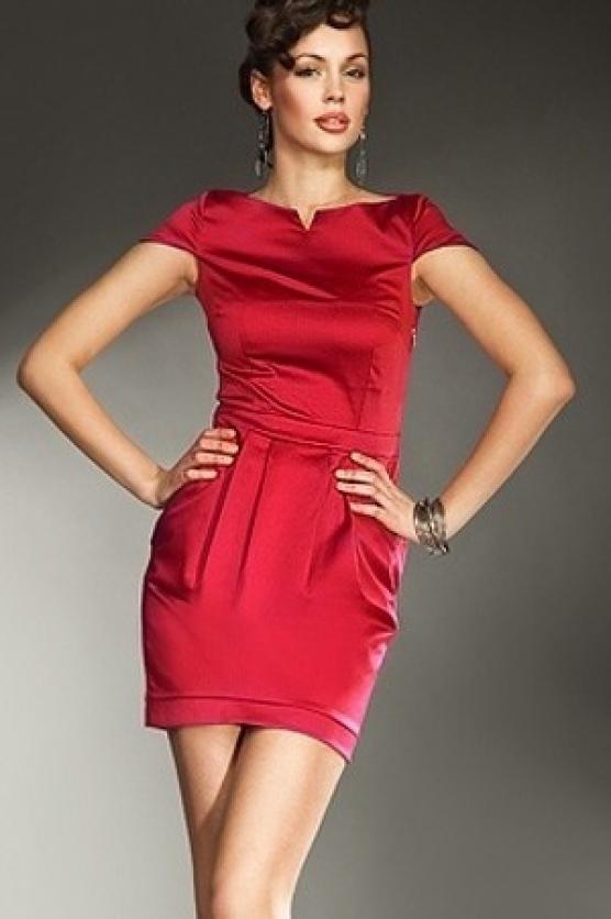 Dámské šaty s krátkým rukávem S10 - Nife - 42 - červená