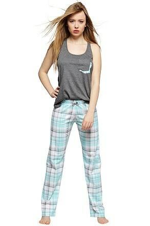Dámské pyžamo Mia šedotyrkysové - XL