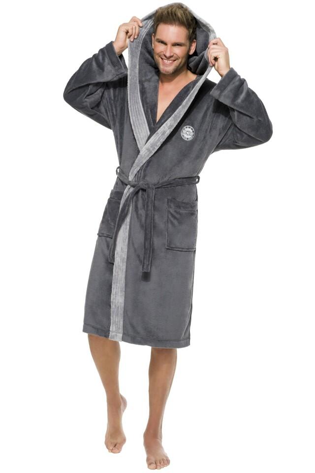 Pánský dlouhý župan George tmavě šedý - XL