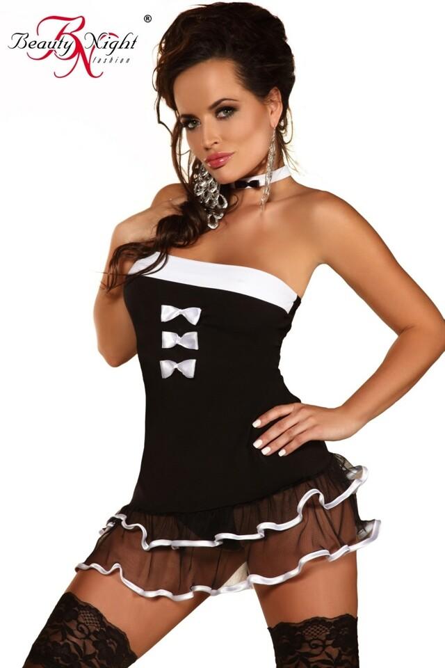 Erotický kostým Felicity - S/M - černo-bílá