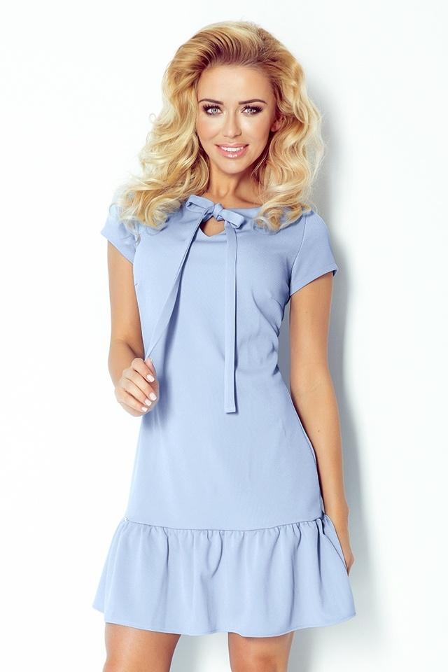 Světle modré šaty s volánkem a mašlí 101-1 - L