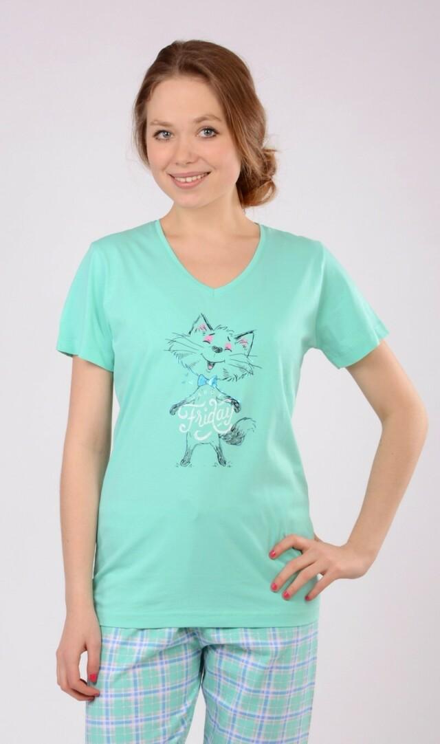 Dámské pyžamo kapri Kočka Friday - zelená XL