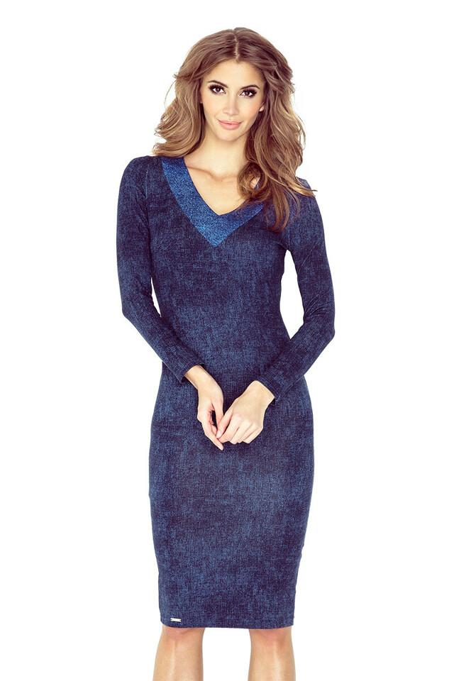 Tmavě modré šaty s výstřihem ve tvaru V MM 020-1