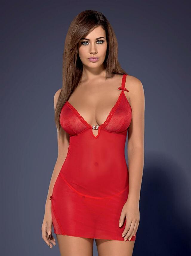 Košilka Romansia chemise XXL - Obsessive - XXL - červená