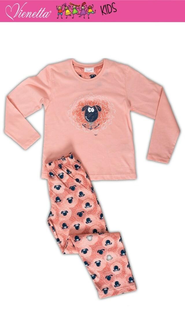 Dětské pyžamo dlouhé Malá ovce - lososová 7 - 8
