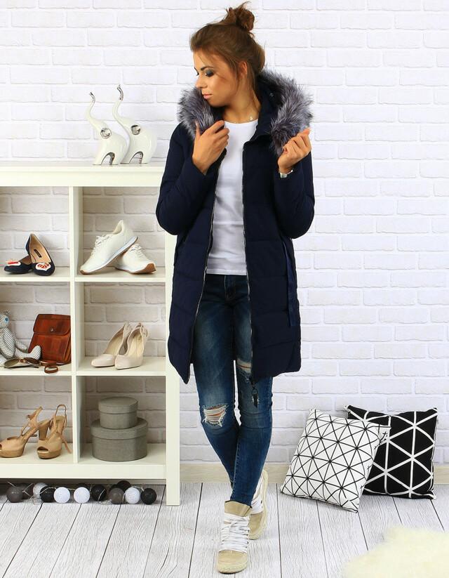 Dámský prošívaný zimní kabát s kapucí (ty0088) - YIXIANGSHUNV - XXL - tmavě modrá