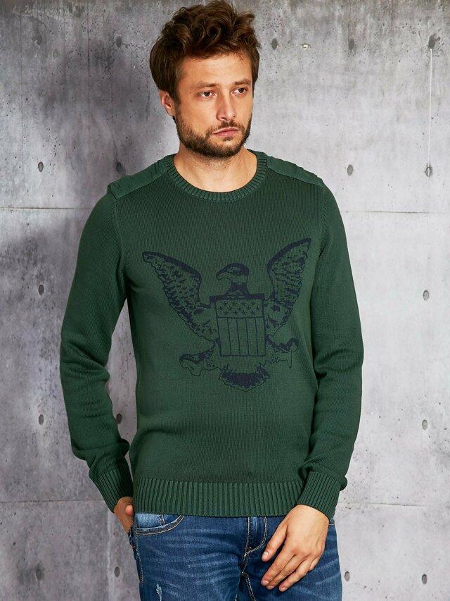 Pánský svetr s tmavě zeleným znakem - S