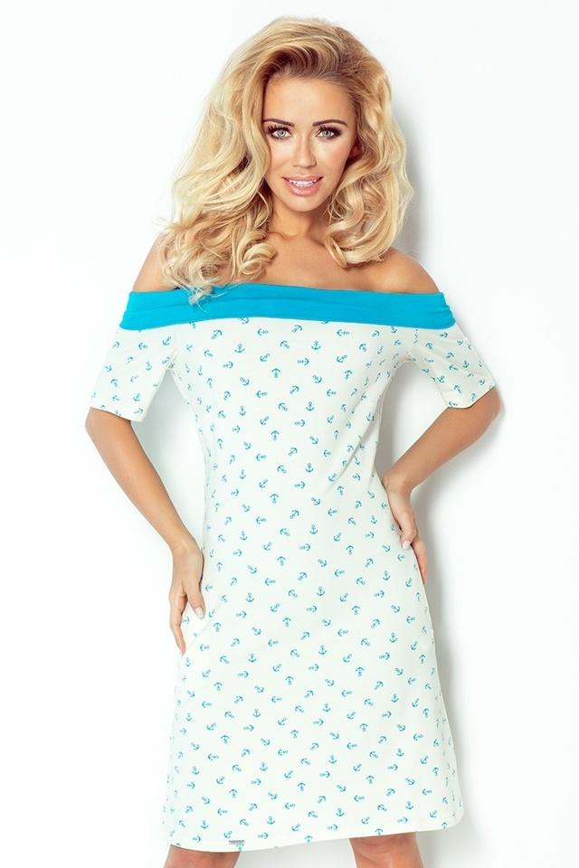 Okrovo-modré námořnické šaty s mašlí na zádech 100-1