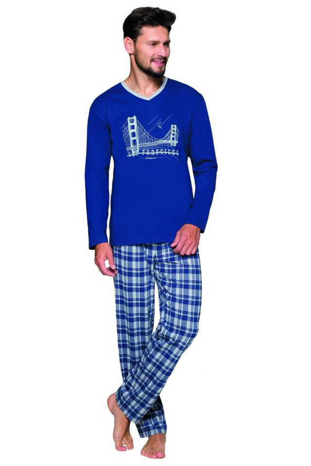 Pánské pyžamo Robert modré most - XXL